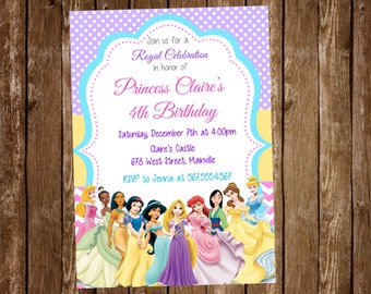 Disney Princess Birthday Party Invitation, Princess, Party, Birthday, Invitation - Digital or Printed with FREE SHIPPING