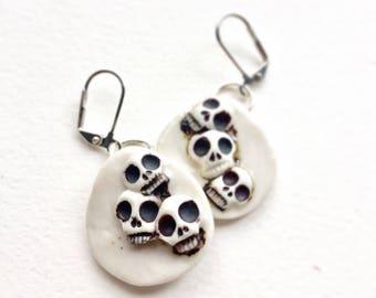 Cluster Skull Medallion Earrings