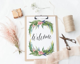 PRINTABLE Art Welcome Home Sweet Home Welcome Home Welcome Sign Be Our Guest Inspirational Quote Floral Quote Floral Art Print