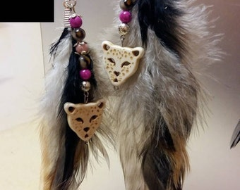 Earrings with real feathers