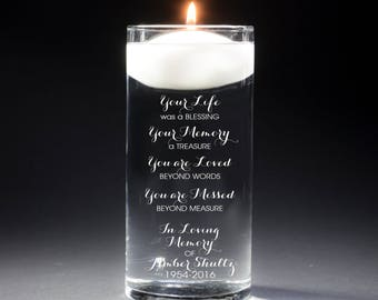 2 Memorial Vases - In Loving Memory Vase -Floating Wedding Memorial Candle - Memorial Candle - Engraved  - Your Life was a blessing
