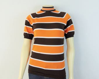 Vintage Shirt 60s 70s Miss Holly Orange & Brown Striped Knit Shirt Back Zipper Short Sleeves