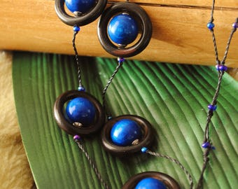 Blue and Brown nature necklace