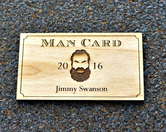 Personalized Beard Man Card Laser Etched Wood Wallet Card Dad Bachelor Groomsman Becoming a Real Man Lumberjack