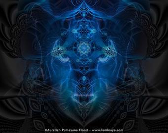PUMAYANA -Tapestry, Wall Hanging-Original Pumayana Visionary Art, Spiritual, Psychedelic, Shamanic, Sacred Geometry, Entheogenic Art
