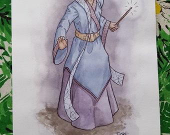 Greymon Two - Character Design - Original Art Watercolor Sketch of Comic Illustration