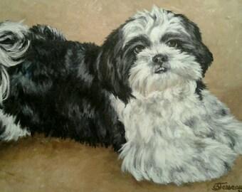 "Pet Portrait - Custom Painting in Acrylics on Canvas or Pastel-Original Dog Art 20""x24"""