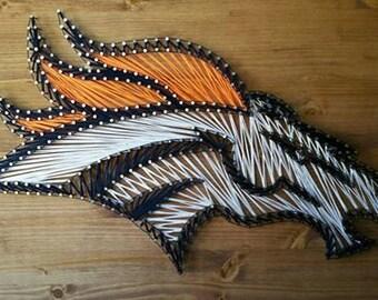 Custom Denver Broncos String Art Wood Wall Decor