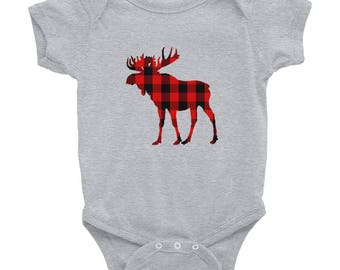 Buffalo Plaid Moose Infant Bodysuit
