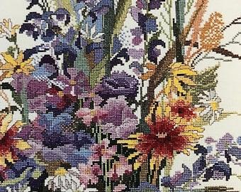 APRILSALE Vintage Counted Cross Stitch Liza's Bouquet pattern