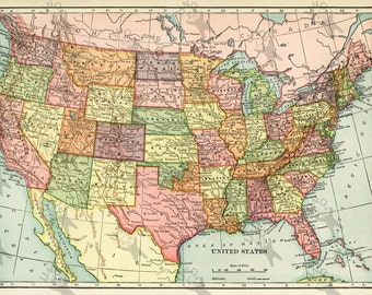 Vintage map of USA 1906 Instant Download image printable picture  for scrapbooking, decor,  prints, etc HQ 300dpi