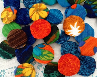 Fabric Yoyos - Hawaiian Print - hand sewn - Embellishments - Add details to crafts, scrapbooking, quilts, altered art - Kid's Craft supplies