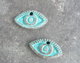 Eye Charm Pendant, Green Patina Pewter Charm, Mykonos Charms, Lead Free 20mm 2 pieces