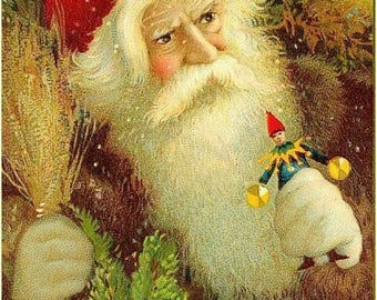 "Father Christmas  a Victorian Santa Claus.  Artist unknown, 8x10"" canvas art print"