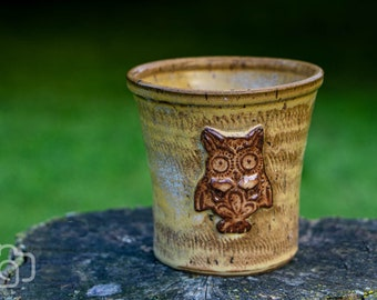 Wheel Thrown Owl Stoneware Planter