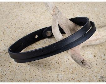 Black split leather choker / double wrap bracelet