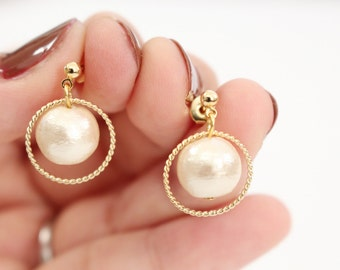Drop pearl earrings, gold earrings, simple pearl and ring earrings, gold ring earrings, Bridal earrings, bridesmaid earrings, gift for her