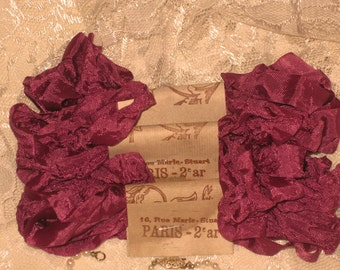 French Inspired Seam Binding Ribbon Distressed and Scrunched  - French Elegant Fuschia - French Marche (SB1c004)
