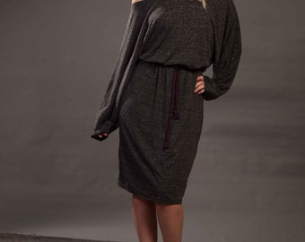 Dark Grey Multisize Plus Size Batwing Dress Up To UK14