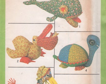 Simplicity 8779 1970s Stuffed Toys Whale  Pelican Goose and Turtle Pattern Calico Pets Craft Sewing Pattern UNCUT