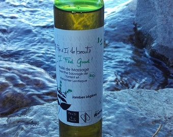 Oil Massage draining organic essential oils of Corsica - Buckthorn pistachio - wild mint - Made in Corsica - 100 ml