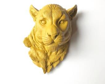 YOSEMITE YELLOW Large Faux Taxidermy Mountain Lion Head, Faux Taxidermy animal head wall mount, faux animal head wall hanging, cougar head,