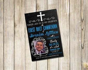 Personalized  Communion Invitations Boy or Girl Chalkboard Style with Photo Printable DIGITAL FILE *You Print