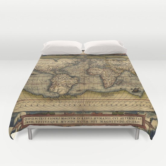 Antique world map duvet cover vintage world map bedding old map 1 gumiabroncs Image collections