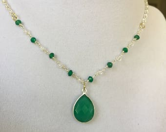 Natural Green Onyx with Crystals and Green Beads Necklace