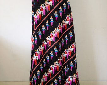 Vintage maxi skirt 70s cotton