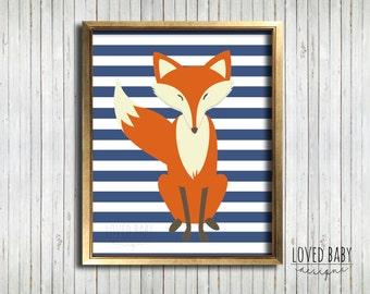 Fox Baby Nursery Decor, Woodland Creatures Print - DIY, Printable