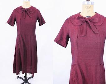 "1960s sheath dress   black red peter pan collar bow tie sheath dress   vintage 60s dress   W 32"""