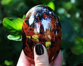 Mahogany Obsidian Palm Stone