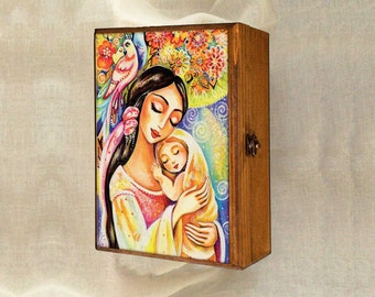 Mother and child motherhood art tree of life, feminine painting, wooden gift box, mother box, christian box, jewelry box, 7x10