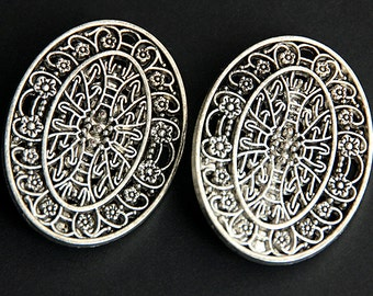 Two (2) Viking Brooches. Floral Filigree Silver Apron Pins. Turtle Brooch Set. Oval Shoulder Brooches. Norse Jewelry. Historical Jewelry.