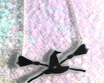 Witch Hat and Broomsticks Necklace - Circle, Halloween, Spooky
