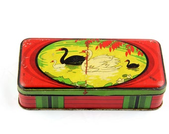 Vintage colorful tin box (ca. 1930s) with swans  decorative tin box