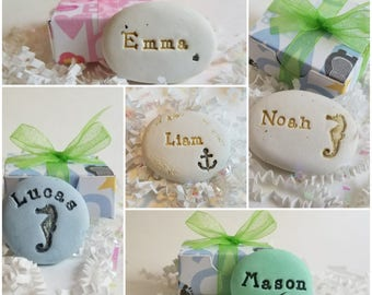 Personalized name stones | baby shower keepsakes | celebrate baby hand painted | new baby memento