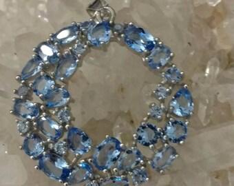 Blue Topaz Wreath Pendant Necklace