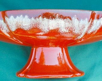 Vintage Haeger Planter Mid Century Label NOS Drip Glazed Label Orange Fall