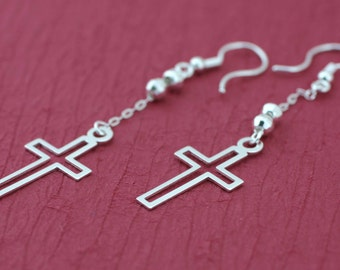 Sterling Silver Cross Earrings, Cross Dangle Earrings, Dangle Earrings with Cross, Long Chain Earring, Long Cross Earrings, Silver Earrings,