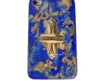Art Deco Iphone Case Hand Painted Enamel Cobalt and Gold Quartz Inspired Aztec Design with Assorted Color Options Available