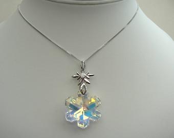 WINTER NECKLACE Large Christmas Snowflake OOAK Swarovski elements Aurora Borealis crystal Sterling Silver