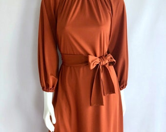 Vintage Women's 70's Boho, Dress, Burnt Orange, Raglan, Long Sleeve (S/M)