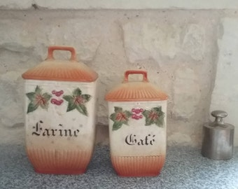 2 spice jars vintage ceramic, rustic decor with flowers in relief: flour - coffee spice Vintage France boxes