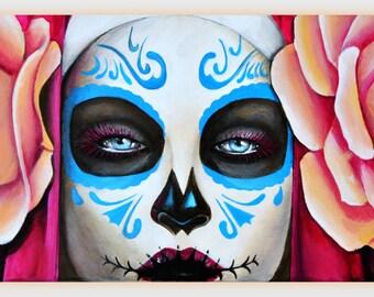 Day of the Dead, 20x60 acrylic painting, Mexican Culture, Dia des Muertos, Skull art, Sugar Skull, Roses, Mira ZeroDreams Art