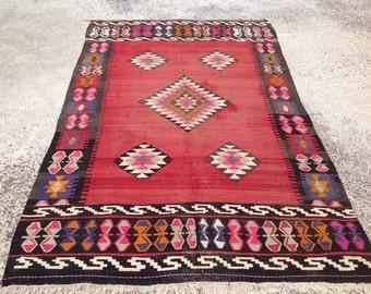 Red Vintage Turkish kilim rug, 120'' x 74'', area rug, kilim rug, kelim rug, vintage rug, bohemian rug, Turkish rug, rug, tribal rug, 350