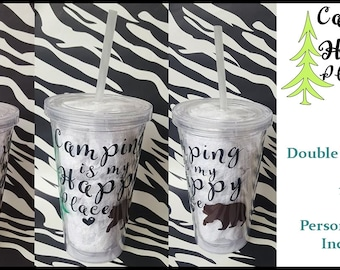 Personalized Double Wall Acrylic Tumbler with Straw 16oz.