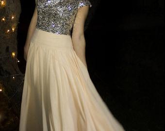 Alicia Modest Prom Dress -Silver Sequin Dress - Sequin & Chiffon Dress - Modest Formal Dress - Bridesmaid Dress - Bridesmaid Dresses