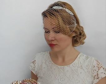 Birdcage Veil Headband, Bridal Birdcage Veil, Wedding Veil Bridal Veil with Rhinestone Headband Bridal Veil and Headpiece Art Deco Headband